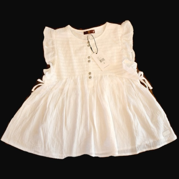 1295dc386cbbe 7 for all Mankind white peplum top NWT kids girls NWT